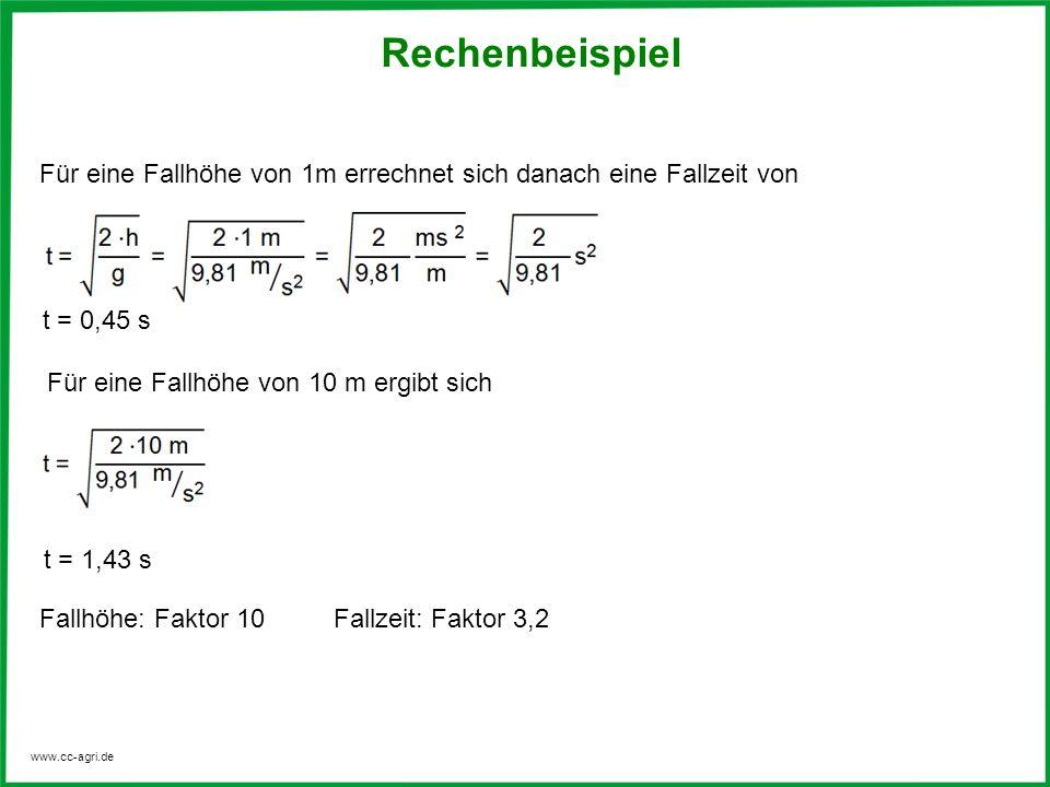 RechenbeispielFür eine Fallhöhe von 1m errechnet sich danach eine Fallzeit von. t = 0,45 s. Für eine Fallhöhe von 10 m ergibt sich.