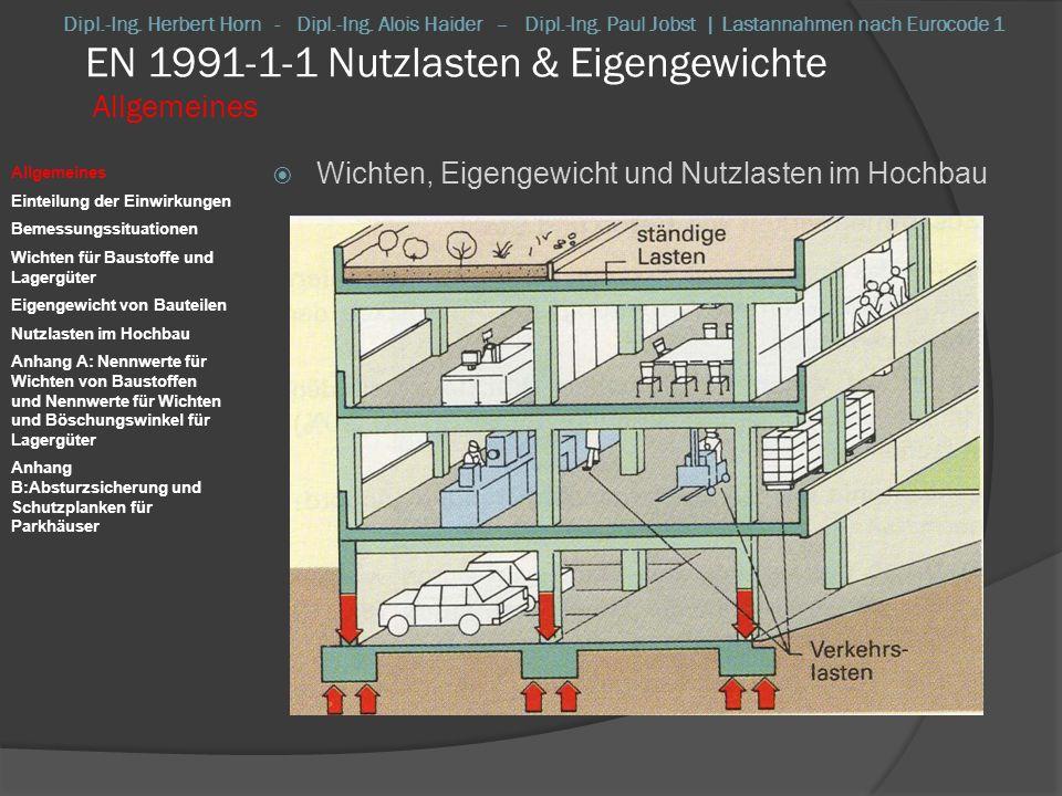 EN 1991-1-1 Nutzlasten & Eigengewichte Allgemeines