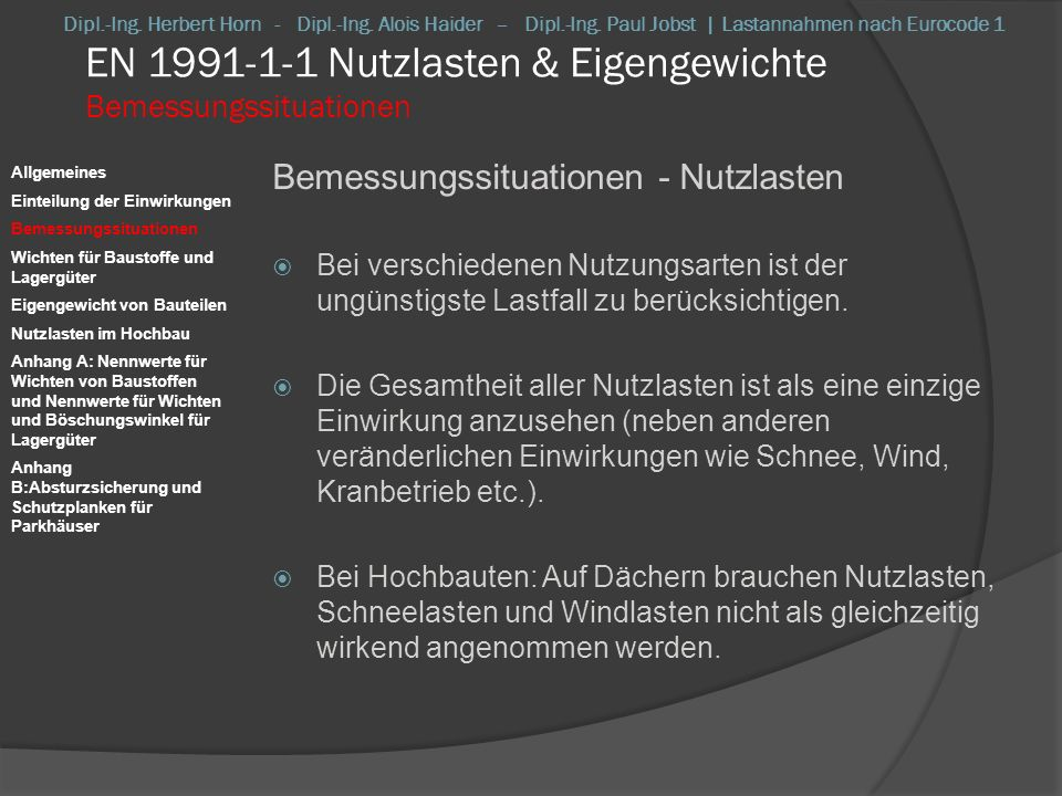 EN 1991-1-1 Nutzlasten & Eigengewichte Bemessungssituationen