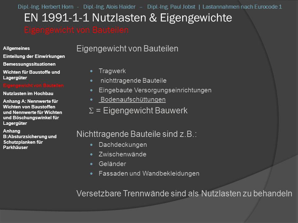 EN 1991-1-1 Nutzlasten & Eigengewichte Eigengewicht von Bauteilen