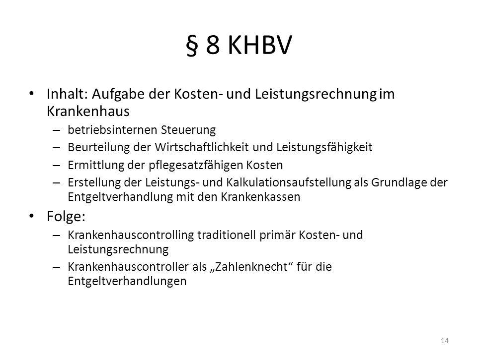 § 8 KHBVInhalt: Aufgabe der Kosten- und Leistungsrechnung im Krankenhaus. betriebsinternen Steuerung.