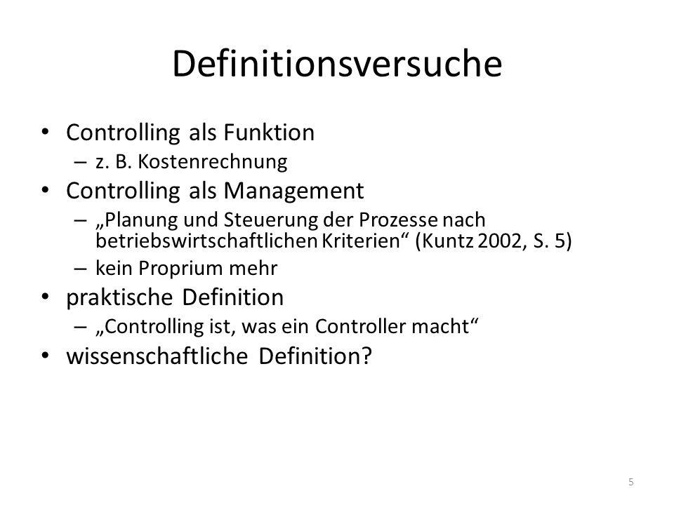 Definitionsversuche Controlling als Funktion