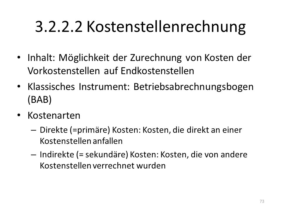 3.2.2.2 Kostenstellenrechnung