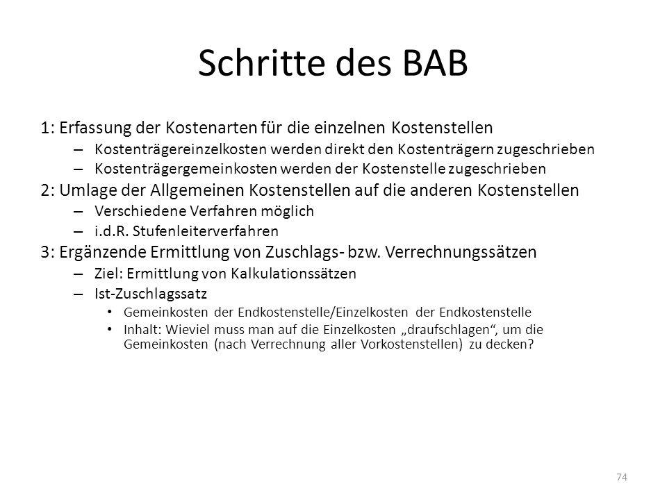 Schritte des BAB1: Erfassung der Kostenarten für die einzelnen Kostenstellen. Kostenträgereinzelkosten werden direkt den Kostenträgern zugeschrieben.
