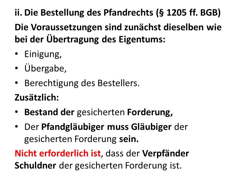 Die Bestellung des Pfandrechts (§ 1205 ff. BGB)