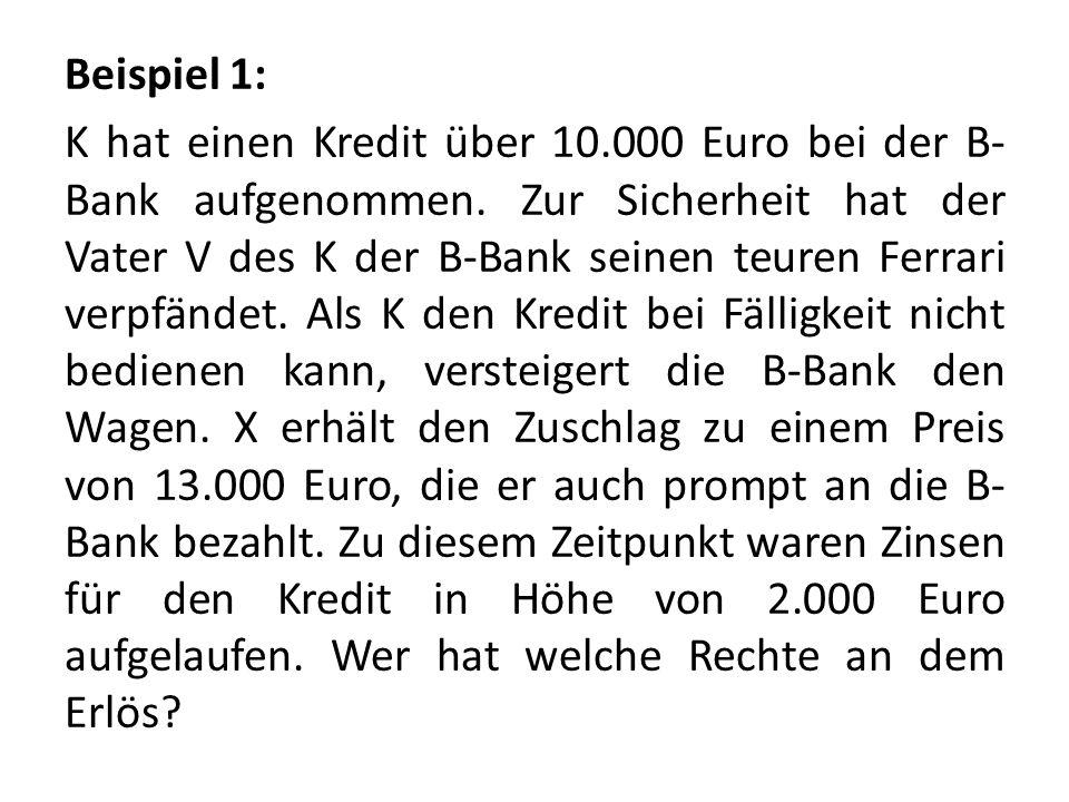 Beispiel 1: K hat einen Kredit über 10