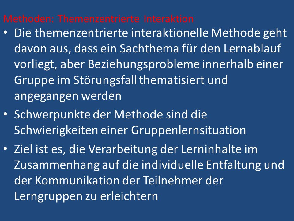 Methoden: Themenzentrierte Interaktion