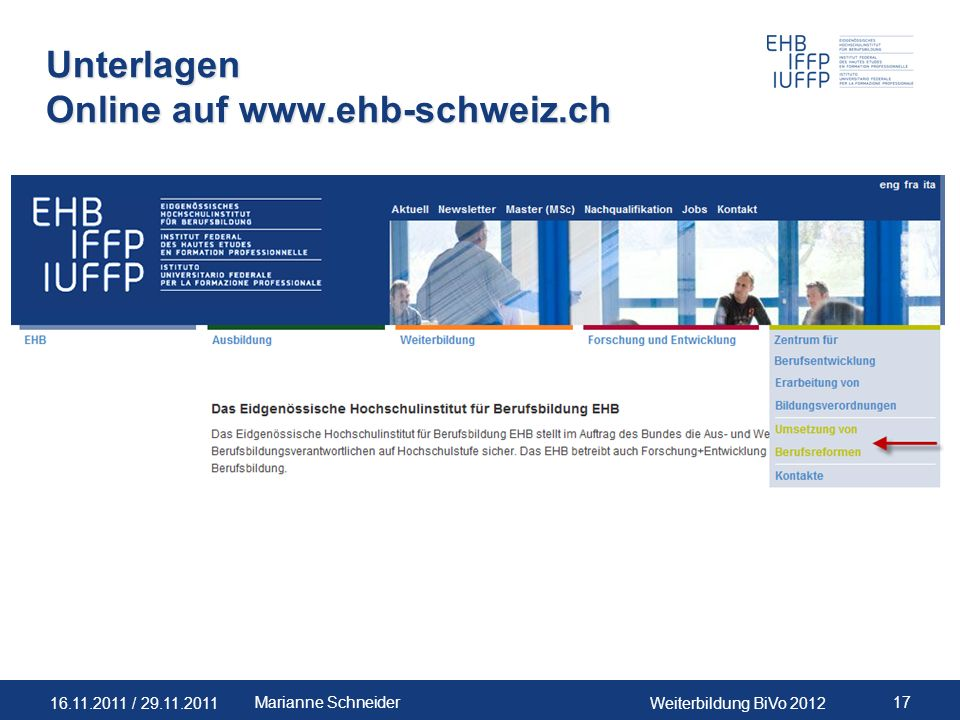 Unterlagen Online auf www.ehb-schweiz.ch