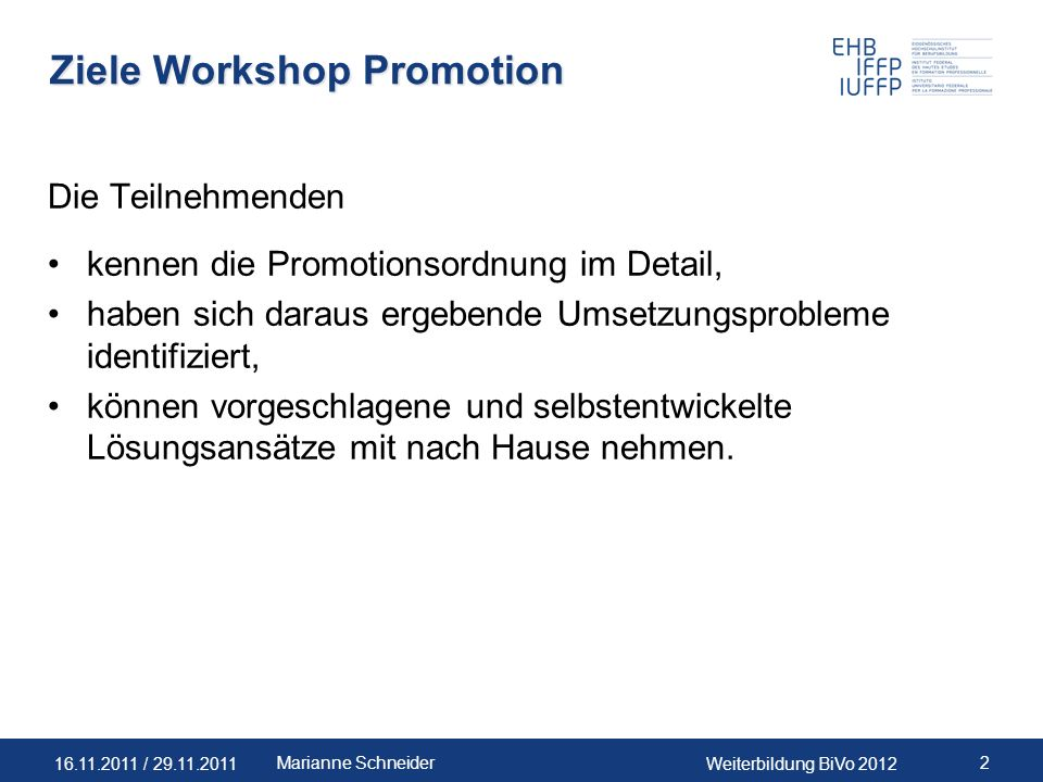 Ziele Workshop Promotion