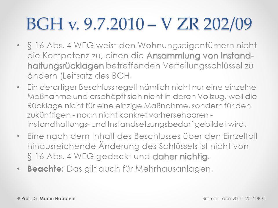 BGH v. 9.7.2010 – V ZR 202/09