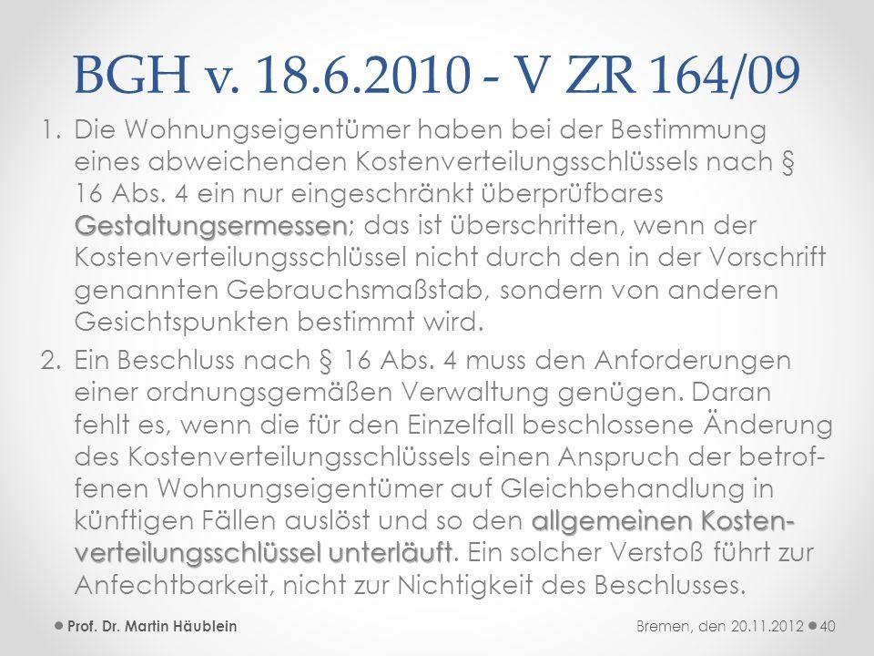 BGH v. 18.6.2010 - V ZR 164/09