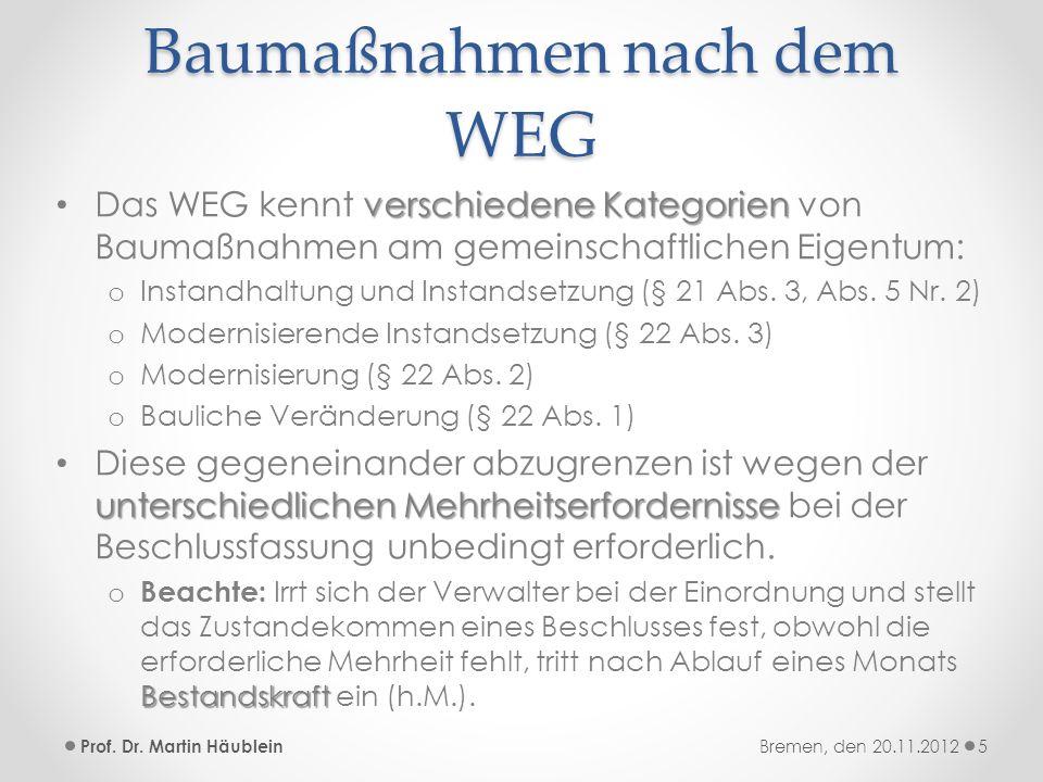 Baumaßnahmen nach dem WEG