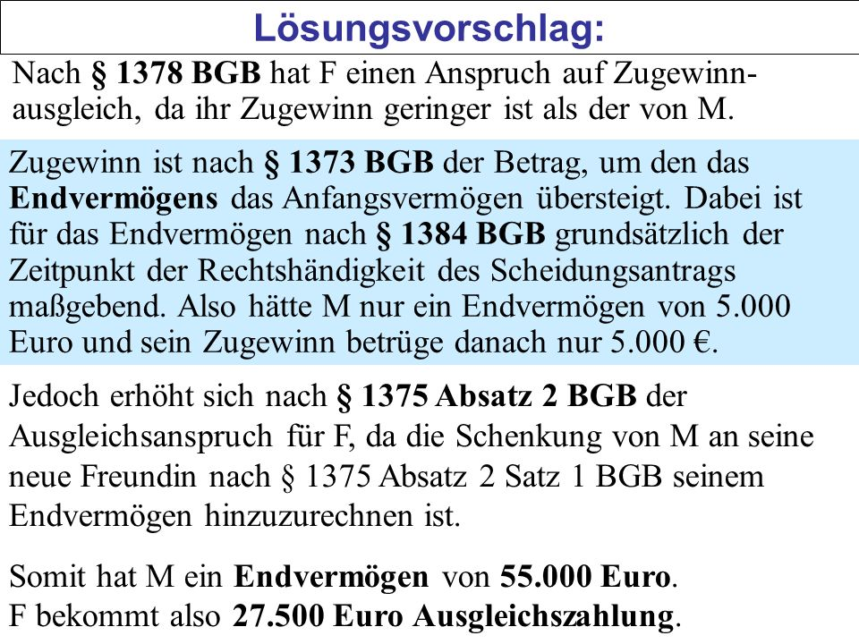 Lösungsvorschlag: Nach § 1378 BGB hat F einen Anspruch auf Zugewinn-ausgleich, da ihr Zugewinn geringer ist als der von M.
