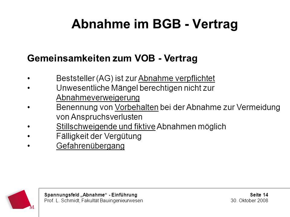 Abnahme im BGB - Vertrag