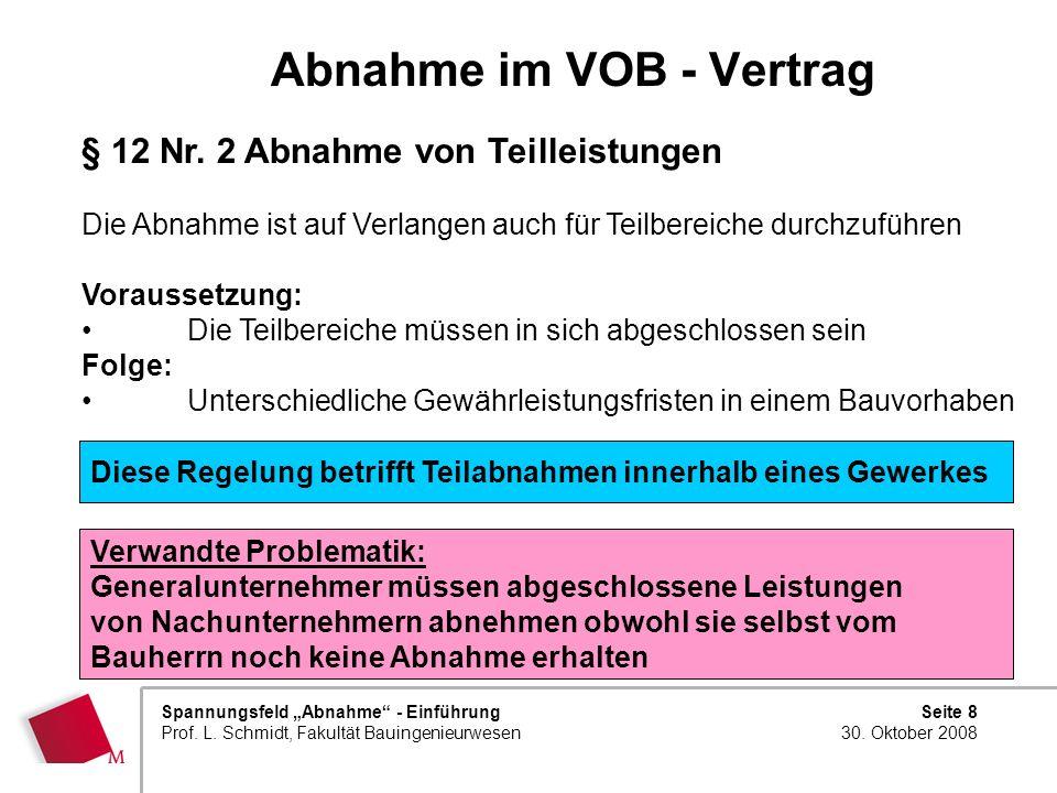 Abnahme im VOB - Vertrag