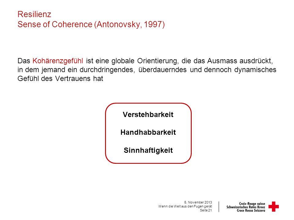 Resilienz Sense of Coherence (Antonovsky, 1997)