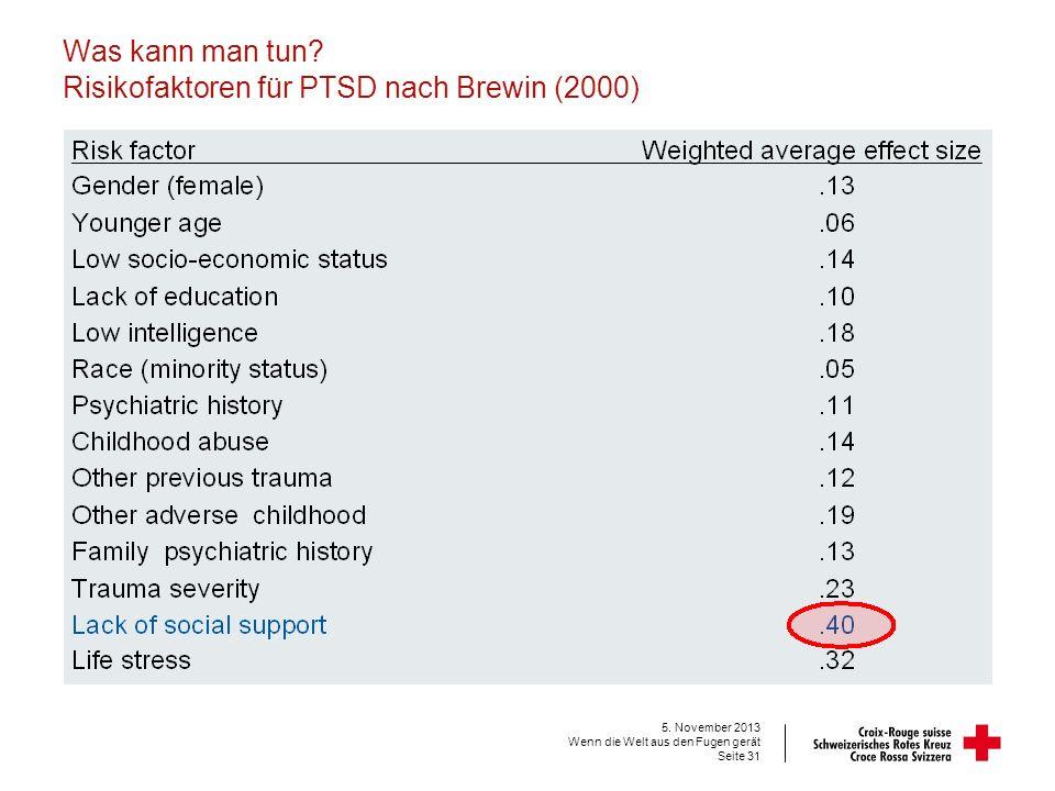 Was kann man tun Risikofaktoren für PTSD nach Brewin (2000)