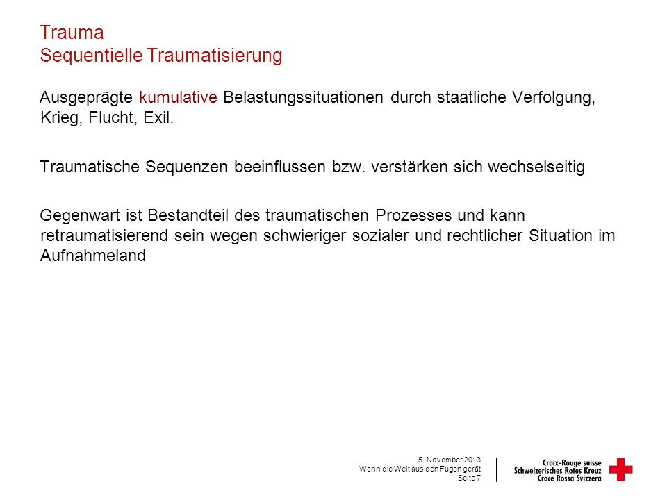Trauma Sequentielle Traumatisierung