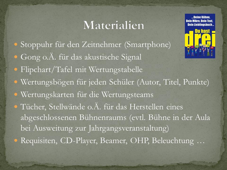Materialien Stoppuhr für den Zeitnehmer (Smartphone)