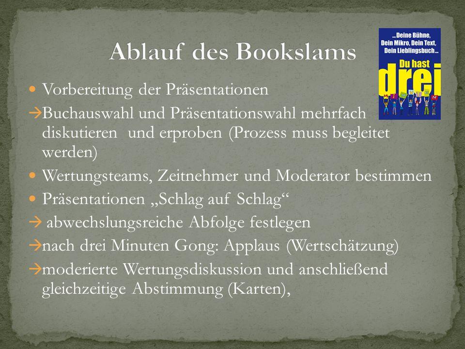 Ablauf des Bookslams Vorbereitung der Präsentationen