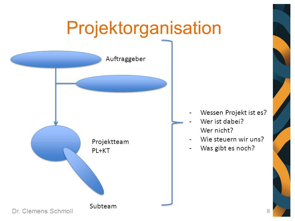 Projektorganisation Auftraggeber Wessen Projekt ist es