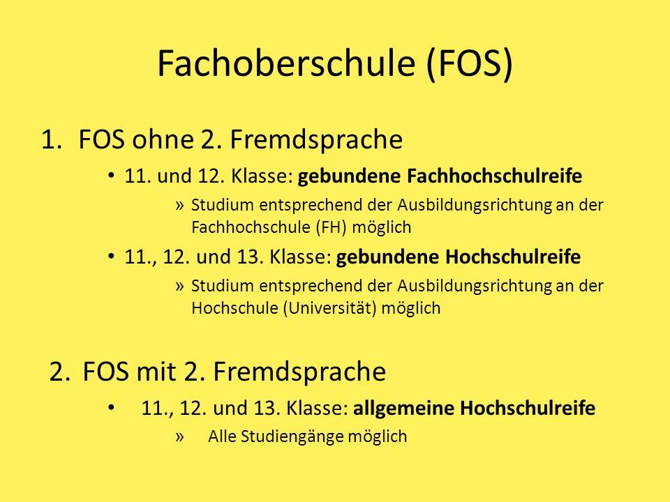 Fachoberschule (FOS) FOS ohne 2. Fremdsprache FOS mit 2. Fremdsprache
