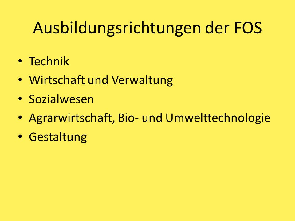 Ausbildungsrichtungen der FOS