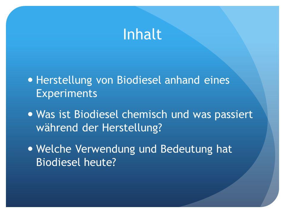 Inhalt Herstellung von Biodiesel anhand eines Experiments
