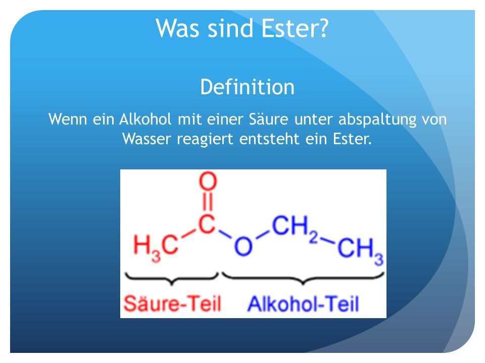 Was sind Ester Definition