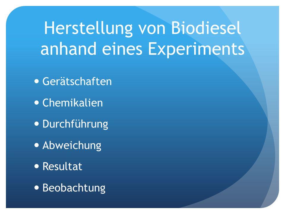 Herstellung von Biodiesel anhand eines Experiments