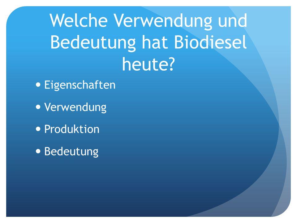 Welche Verwendung und Bedeutung hat Biodiesel heute