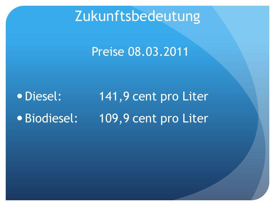 Zukunftsbedeutung Preise 08.03.2011 Diesel: 141,9 cent pro Liter