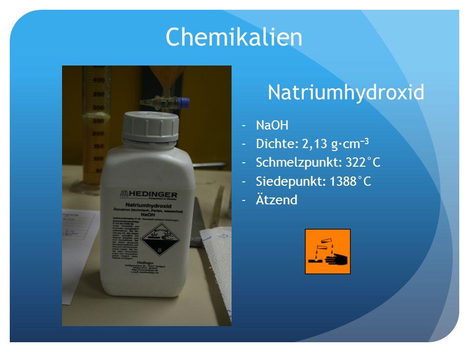 Chemikalien Natriumhydroxid NaOH Dichte: 2,13 g·cm−3