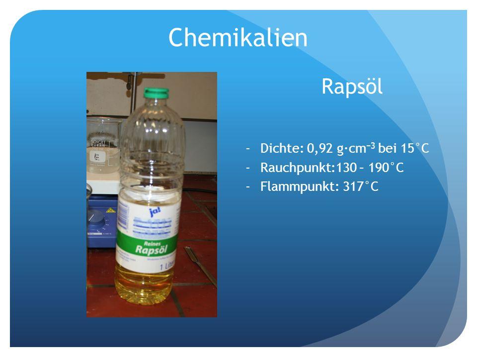 Chemikalien Rapsöl Dichte: 0,92 g·cm−3 bei 15°C Rauchpunkt:130 – 190°C