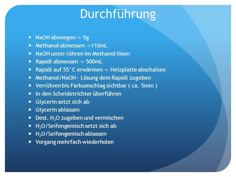 Durchführung NaOH abwiegen -> 5g Methanol abmessen ->110mL