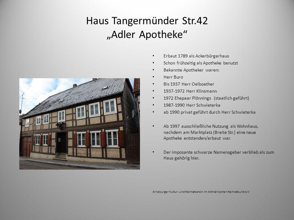 """Haus Tangermünder Str.42 """"Adler Apotheke"""