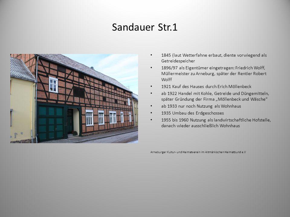 Sandauer Str.1 1845 (laut Wetterfahne erbaut, diente vorwiegend als Getreidespeicher.