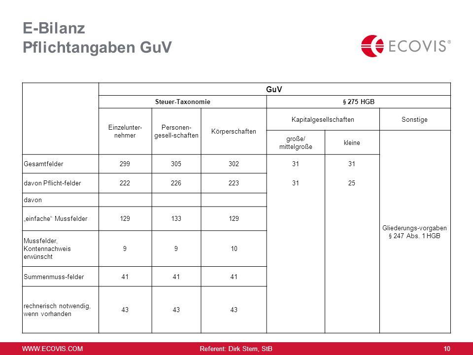 E-Bilanz Pflichtangaben GuV