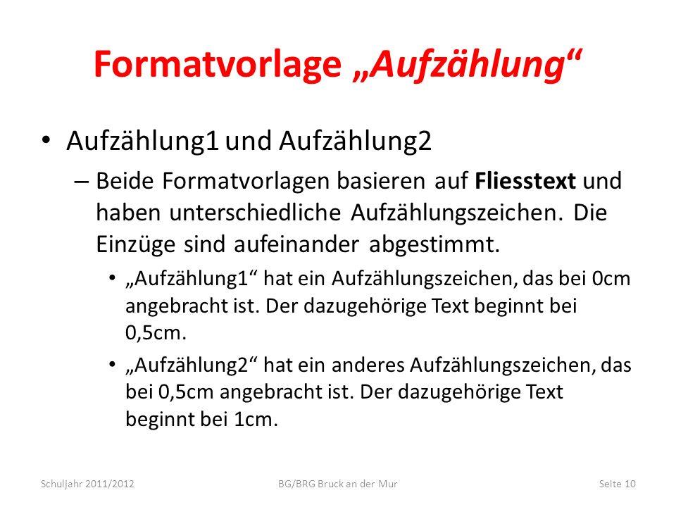 """Formatvorlage """"Aufzählung"""