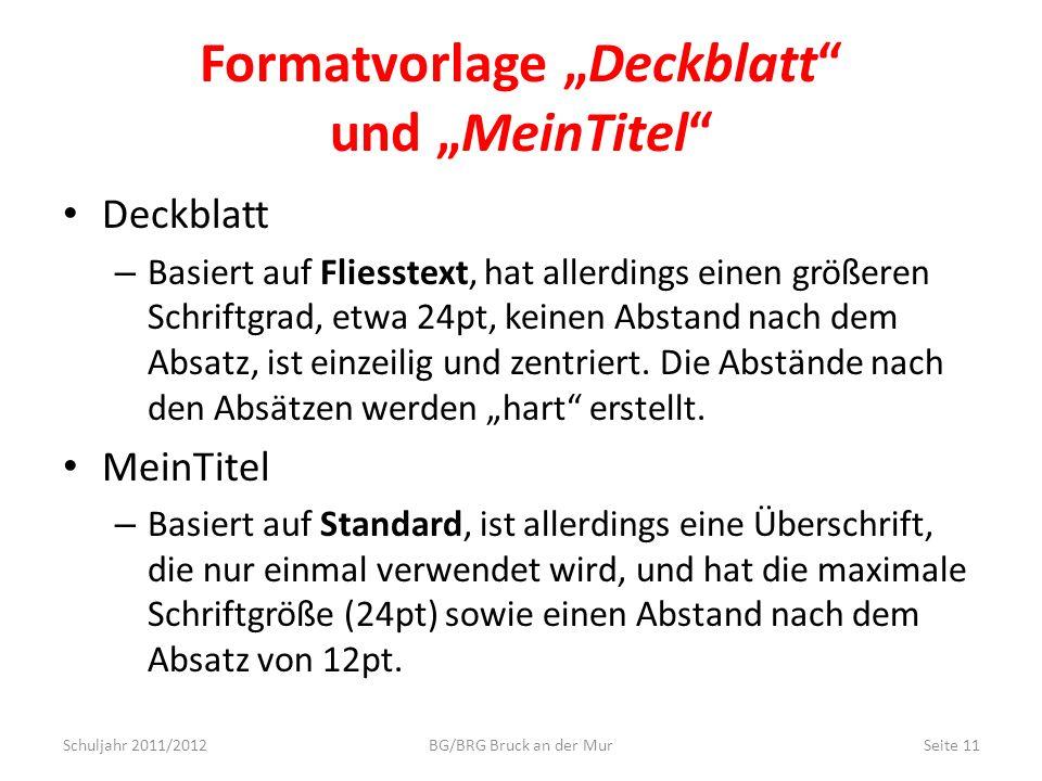 """Formatvorlage """"Deckblatt und """"MeinTitel"""