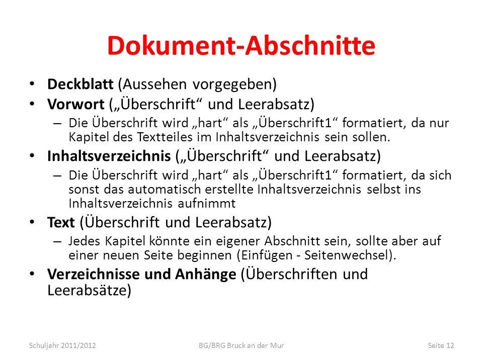 Dokument-Abschnitte Deckblatt (Aussehen vorgegeben)