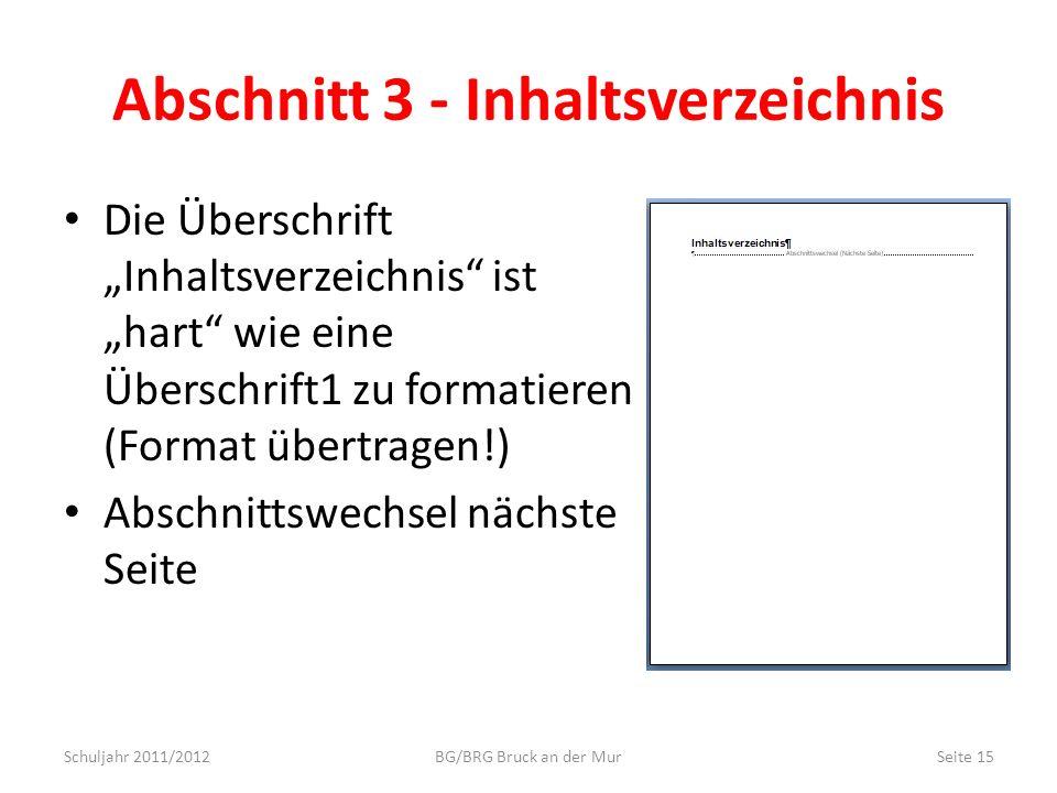 Abschnitt 3 - Inhaltsverzeichnis