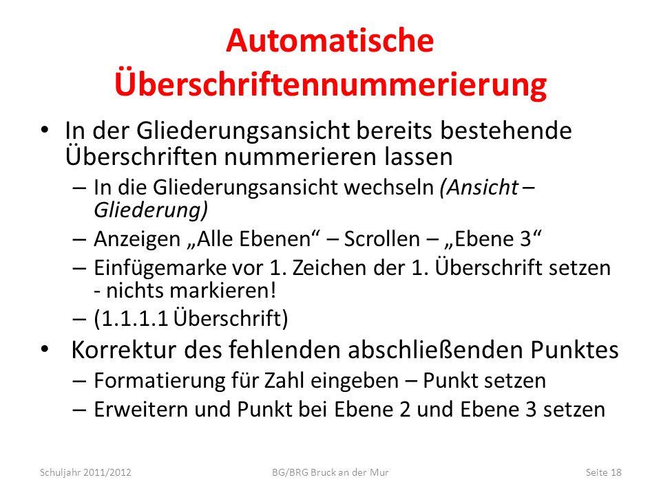 Automatische Überschriftennummerierung