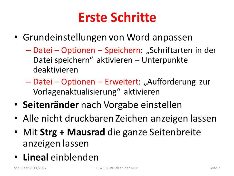 Erste Schritte Grundeinstellungen von Word anpassen