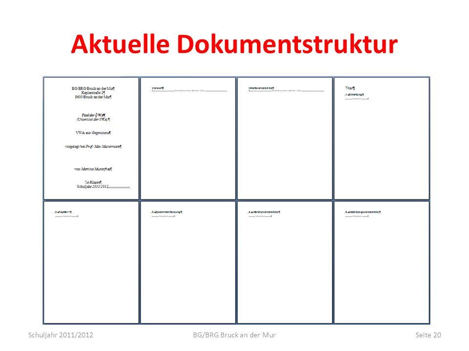Aktuelle Dokumentstruktur
