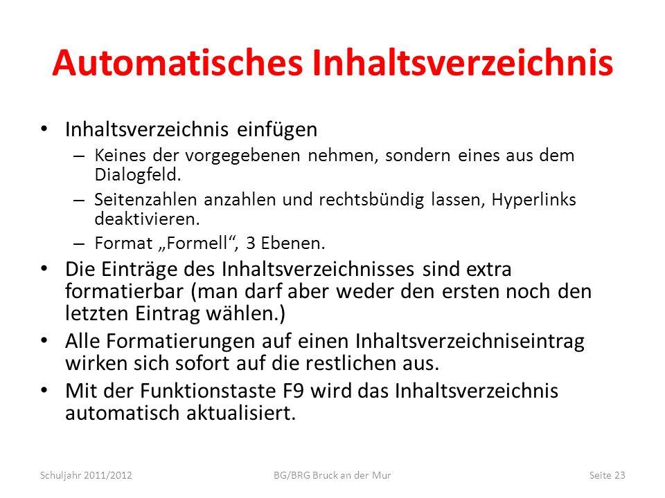 Automatisches Inhaltsverzeichnis