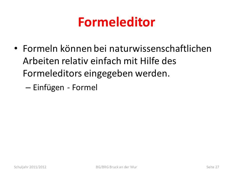 Formeleditor Formeln können bei naturwissenschaftlichen Arbeiten relativ einfach mit Hilfe des Formeleditors eingegeben werden.