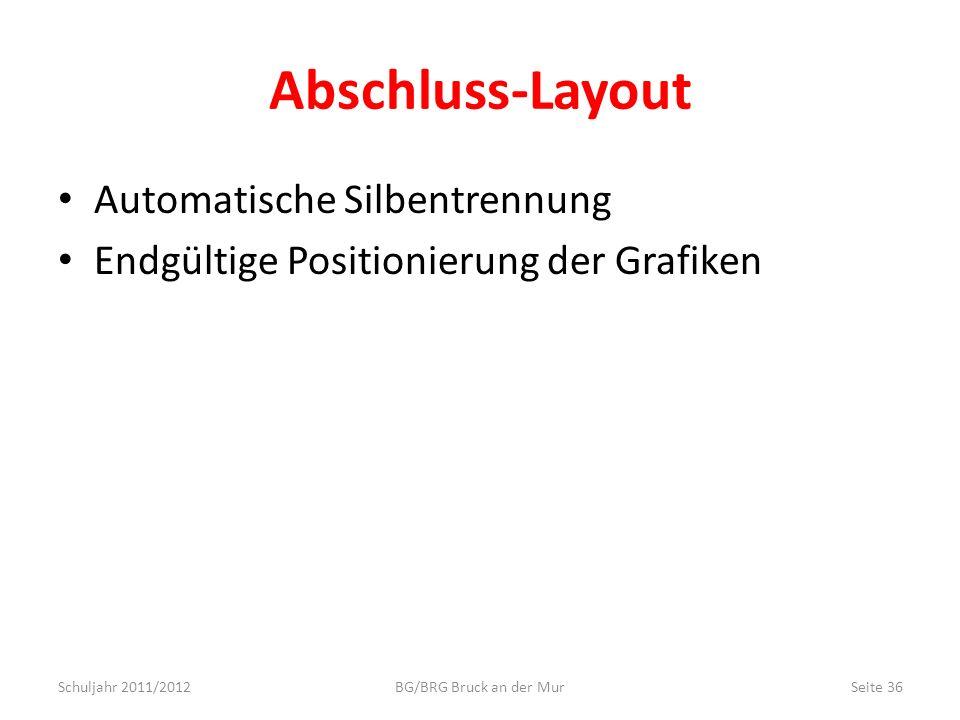 Abschluss-Layout Automatische Silbentrennung