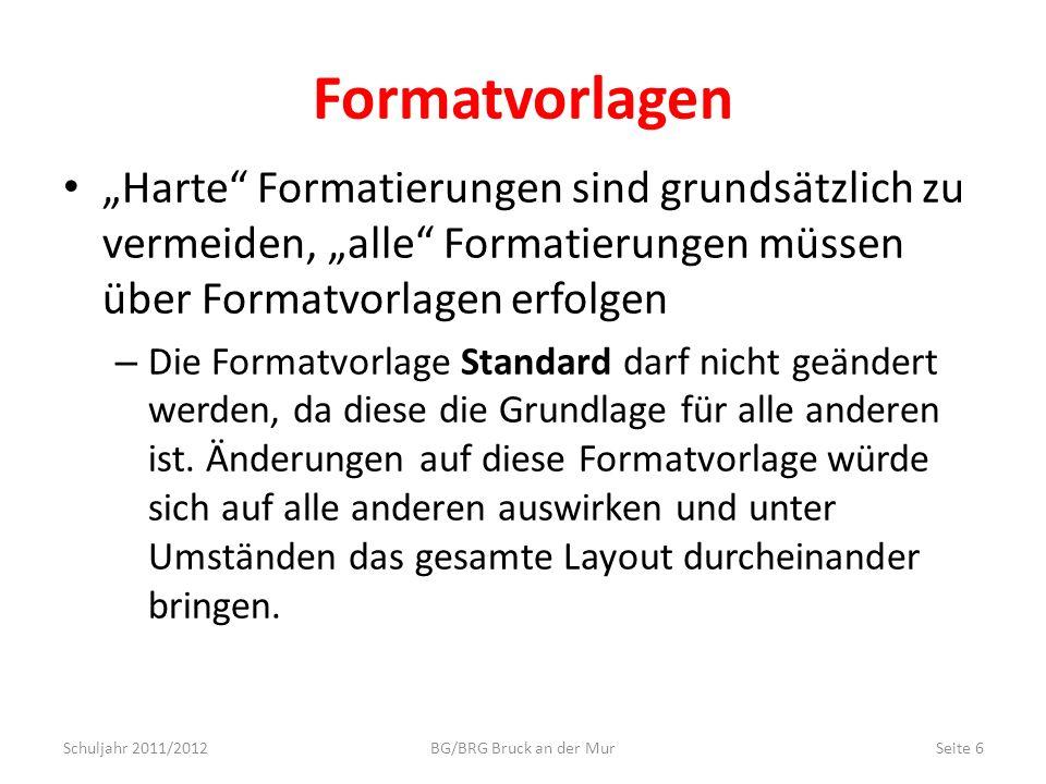 """Formatvorlagen """"Harte Formatierungen sind grundsätzlich zu vermeiden, """"alle Formatierungen müssen über Formatvorlagen erfolgen."""