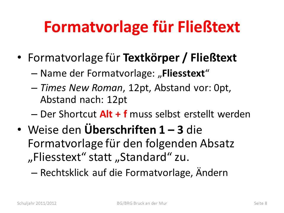 Formatvorlage für Fließtext
